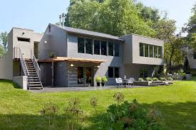 gray painted brick exterior contemporary with concrete garden wall