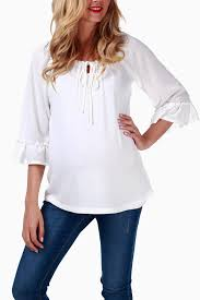 white flowy blouse ivory flowy maternity top