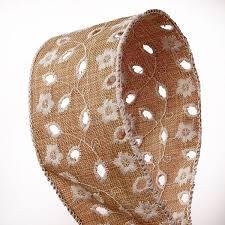 jute ribbon floral embroidered w eyelets jute ribbon