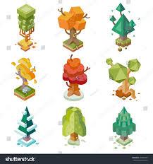 creative trees isolated isometric flat vector stock vector