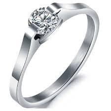 titanium engagement rings titanium stainless steel engagement ring wedding cz solitaire