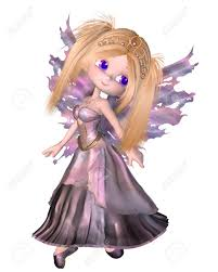 cute toon fairy princess with purple dress and wings and gold