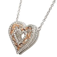 sterling silver rose necklace images Pendants necklaces sterling silver rose gold celtic heart jpg