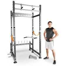 marcy pro heavy duty power rack home gym cross fit training area