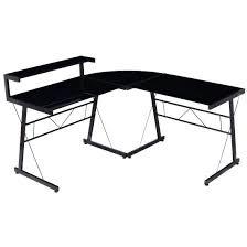 techni mobili black glass corner desk l shaped glass computer desk black glass l shaped computer desk z