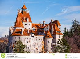red roofs of bran castle dracula castle stock photo image