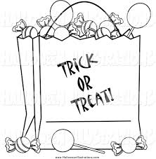 clip art of a black and white trick or treat bag full of halloween