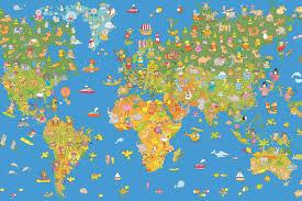 Kids World Map by Livingwalls Photo Wallpaper World Map 035170