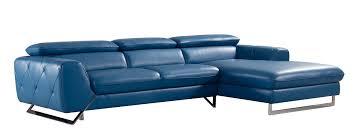 Turquoise Leather Sectional Sofa Casa Devon Modern Blue Leather Sectional Sofa