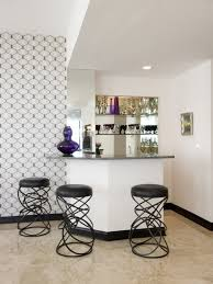 lovely white small bar design with fancy black round bar stool