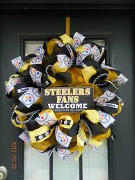 How To Make Halloween Mesh Wreaths by Pittsburgh Steelers Wreath Made By Bay Wreath Designs Deco Mesh