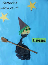 cute footprint witch craft for halloween fall and halloween