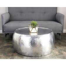 Aluminum Coffee Tables Silver Contemporary Hammered Aluminum Coffee Table 23912 The