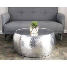 Aluminum Coffee Table Silver Contemporary Hammered Aluminum Coffee Table 23912 The