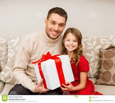 smiling father and daughter holding gift box stock images image