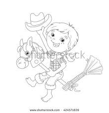 coloring outline cartoon boy playing stock vector 424571839