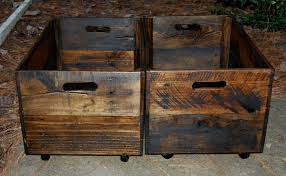 wooden crates rolling wooden crates reclaimed wood toy storage