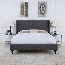 amazon com classic dark grey box tufted shelter bed frame queen