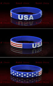 Football Flag Printing Usa Flag Silicone Wristbands World Cup Football Sport Wristband