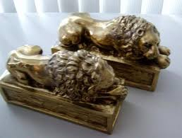 lion book ends pair of cast weighted antique brass lion bookends antonio canova