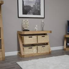 Oak Console Table With Drawers Z Design Furniture Unique Designer Solid Oak Basket Console Table