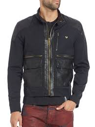 jacket moto true religion mixed media moto jacket in black for men lyst