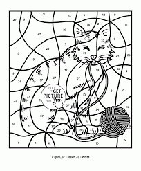 color by number cat coloring page for kids education coloring