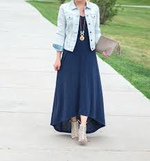 boho denim jacket u0026 high low maxi dress glamour zine