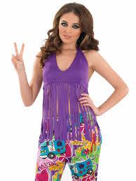 halloween hippie costumes ladies fringed neon purple hippie top fs3336 fancy dress