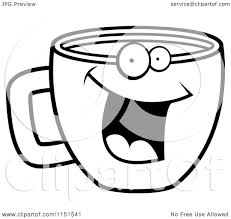 cartoon clipart of a black and white happy smiling coffee cup face