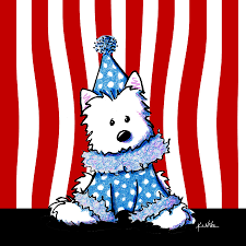 circus clown westie drawing by kim niles