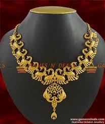 necklace choker design images Nckn284 grand bridal peacock choker necklace design party wear jpg