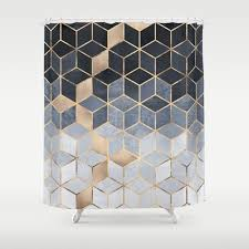 Shower Curtains by Soft Blue Gradient Cubes Shower Curtain By Elisabethfredriksson