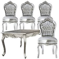 Baroque Dining Table Astonishing Cutebaroque Style Silver Dining Table Matching Chairs