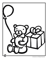 teddy bear birthday balloon coloring page animal jr