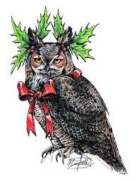 grumpy christmas owl 1 by renecampbellart on deviantart