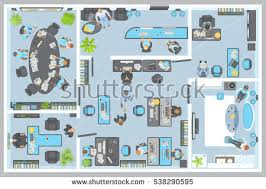 Atwork Office Furniture by Vector Illustration Office View Above People Stock Vector