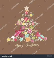 tree made ornaments stock vector 58421773