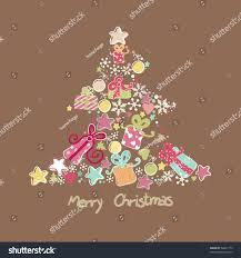 tree made ornaments stock vector 58421773