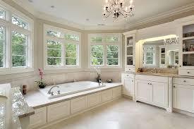 LuxuryMasterBathwithDropinTubandSnowWhiteCabinets - White cabinets master bathroom