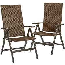 Outdoor Woven Chairs Hand Woven Pe Wicker Outdoor Reclining Chairs Set Of 2 Walmart Com