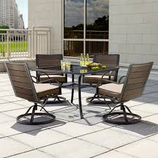 5 Pc Patio Dining Set 7 Patio Dining Set With Swivel Chairs Manore High Bar In