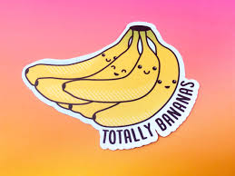 tiny banana bananas vinyl sticker u201ctotally bananas u201d u2013 tiny bee cards