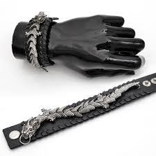 mens bracelet black leather images Mens leather bracelets designed by movable dragon black callvogue jpg