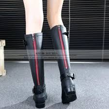 womens boots zipper back rainboots fashion boots high zipper black barreled