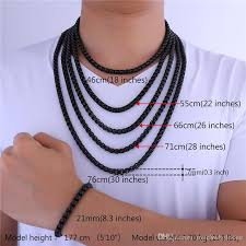 men necklace sizes images 2018 u7 new chain 7mm 5 sizes black gun plated box chains jpg