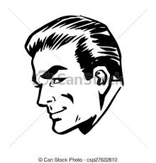 vector clip art of smiling man head profile face retro line art