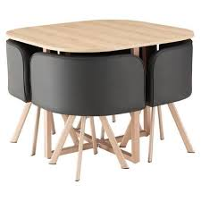table avec chaise encastrable hispter ensemble table à manger 4 personnes décor chêne 4 chaises