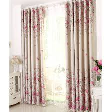pink floral print poly cotton blend country curtains for bedroom
