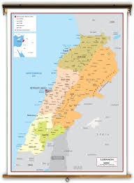 Map Of Lebanon Lebanon Political Educational Wall Map From Academia Maps